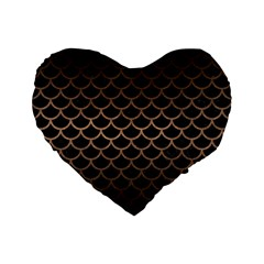 Scales1 Black Marble & Bronze Metal Standard 16  Premium Flano Heart Shape Cushion  by trendistuff