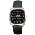 ROYAL1 BLACK MARBLE & BRONZE METAL (R) Square Metal Watch Front