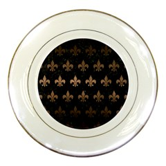 Royal1 Black Marble & Bronze Metal (r) Porcelain Plate by trendistuff