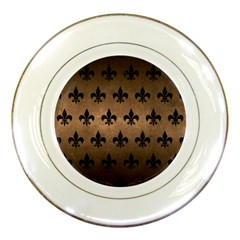 Royal1 Black Marble & Bronze Metal Porcelain Plate by trendistuff