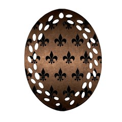 Royal1 Black Marble & Bronze Metal Oval Filigree Ornament (two Sides) by trendistuff