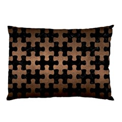 Puzzle1 Black Marble & Bronze Metal Pillow Case (two Sides) by trendistuff