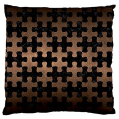 Puzzle1 Black Marble & Bronze Metal Large Cushion Case (two Sides) by trendistuff