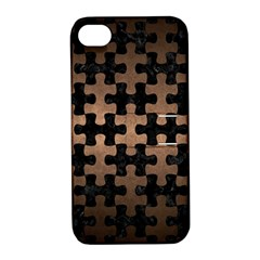 Puzzle1 Black Marble & Bronze Metal Apple Iphone 4/4s Hardshell Case With Stand by trendistuff