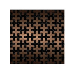 Puzzle1 Black Marble & Bronze Metal Small Satin Scarf (square) by trendistuff