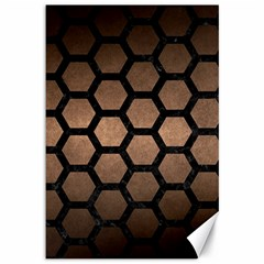 Hexagon2 Black Marble & Bronze Metal (r) Canvas 12  X 18