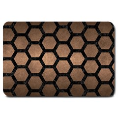 Hexagon2 Black Marble & Bronze Metal (r) Large Doormat by trendistuff