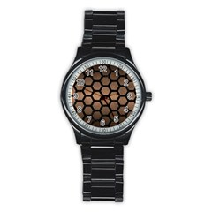 Hexagon2 Black Marble & Bronze Metal (r) Stainless Steel Round Watch by trendistuff