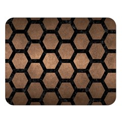 Hexagon2 Black Marble & Bronze Metal (r) Double Sided Flano Blanket (large) by trendistuff