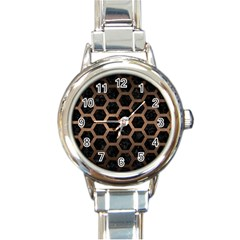 Hexagon2 Black Marble & Bronze Metal Round Italian Charm Watch by trendistuff