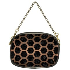 Hexagon2 Black Marble & Bronze Metal Chain Purse (one Side) by trendistuff
