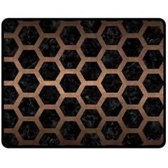 Hexagon2 Black Marble & Bronze Metal Double Sided Fleece Blanket (medium) by trendistuff