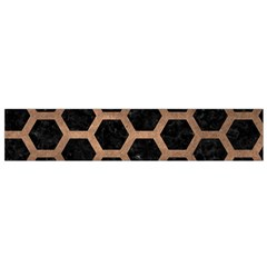 Hexagon2 Black Marble & Bronze Metal Flano Scarf (small) by trendistuff