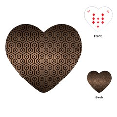 Hexagon1 Black Marble & Bronze Metal (r) Playing Cards (heart) by trendistuff