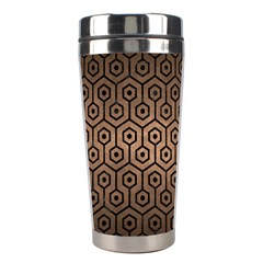Hexagon1 Black Marble & Bronze Metal (r) Stainless Steel Travel Tumbler by trendistuff