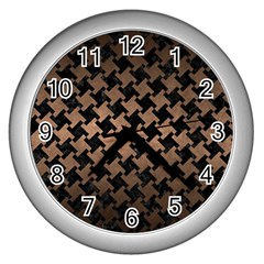 Houndstooth2 Black Marble & Bronze Metal Wall Clock (silver) by trendistuff
