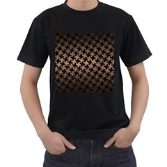Houndstooth2 Black Marble & Bronze Metal Men s T Shirt (black) (two Sided) by trendistuff