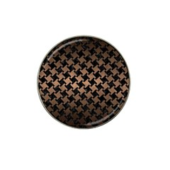 Houndstooth2 Black Marble & Bronze Metal Hat Clip Ball Marker by trendistuff
