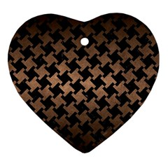 Houndstooth2 Black Marble & Bronze Metal Heart Ornament (two Sides) by trendistuff