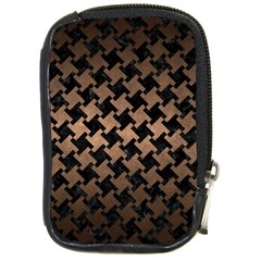 Houndstooth2 Black Marble & Bronze Metal Compact Camera Leather Case by trendistuff