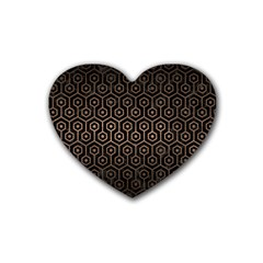 Hexagon1 Black Marble & Bronze Metal Rubber Heart Coaster (4 Pack) by trendistuff