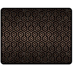 Hexagon1 Black Marble & Bronze Metal Double Sided Fleece Blanket (medium) by trendistuff