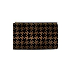 Houndstooth1 Black Marble & Bronze Metal Cosmetic Bag (small) by trendistuff