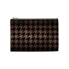 Houndstooth1 Black Marble & Bronze Metal Cosmetic Bag (medium) by trendistuff