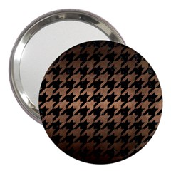 Houndstooth1 Black Marble & Bronze Metal 3  Handbag Mirror by trendistuff