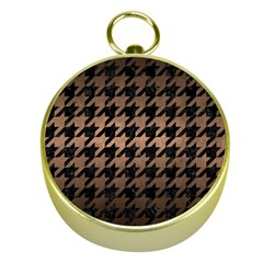 Houndstooth1 Black Marble & Bronze Metal Gold Compass by trendistuff