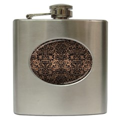 Damask2 Black Marble & Bronze Metal (r) Hip Flask (6 Oz) by trendistuff
