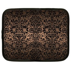 Damask2 Black Marble & Bronze Metal (r) Netbook Case (large) by trendistuff