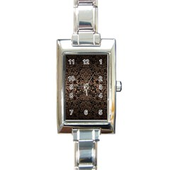 Damask2 Black Marble & Bronze Metal Rectangle Italian Charm Watch by trendistuff