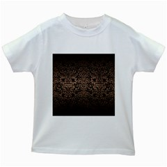 Damask2 Black Marble & Bronze Metal Kids White T Shirt