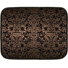 Damask2 Black Marble & Bronze Metal Fleece Blanket (mini) by trendistuff
