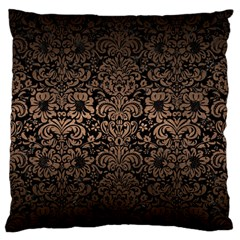 Damask2 Black Marble & Bronze Metal Large Flano Cushion Case (two Sides) by trendistuff