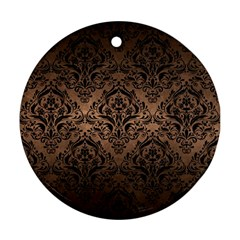 Damask1 Black Marble & Bronze Metal (r) Round Ornament (two Sides) by trendistuff