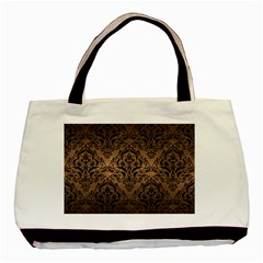 Damask1 Black Marble & Bronze Metal (r) Basic Tote Bag (two Sides) by trendistuff
