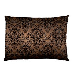 Damask1 Black Marble & Bronze Metal (r) Pillow Case by trendistuff