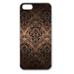 Damask1 Black Marble & Bronze Metal (r) Apple Seamless Iphone 5 Case (clear) by trendistuff