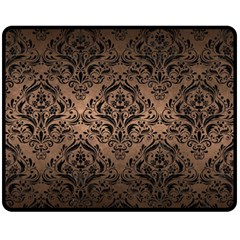 Damask1 Black Marble & Bronze Metal (r) Double Sided Fleece Blanket (medium) by trendistuff