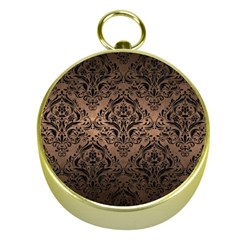 Damask1 Black Marble & Bronze Metal (r) Gold Compass by trendistuff