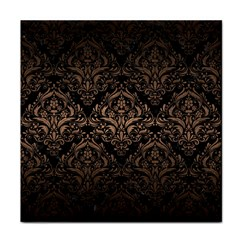 Damask1 Black Marble & Bronze Metal Tile Coaster by trendistuff