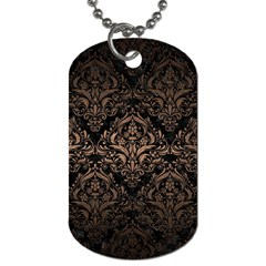 Damask1 Black Marble & Bronze Metal Dog Tag (one Side)