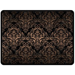 Damask1 Black Marble & Bronze Metal Fleece Blanket (large) by trendistuff