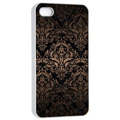 Damask1 Black Marble & Bronze Metal Apple Iphone 4/4s Seamless Case (white) by trendistuff