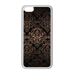 Damask1 Black Marble & Bronze Metal Apple Iphone 5c Seamless Case (white) by trendistuff