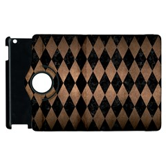 Diamond1 Black Marble & Bronze Metal Apple Ipad 3/4 Flip 360 Case by trendistuff
