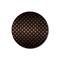 Circles3 Black Marble & Bronze Metal (r) Rubber Coaster (round) by trendistuff