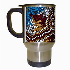 Aboriginal Art – Wetland Dreaming Travel Mugs (white) by hogartharts